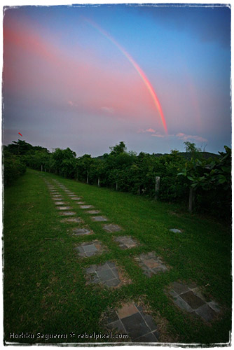 A rainbow, at sunset.