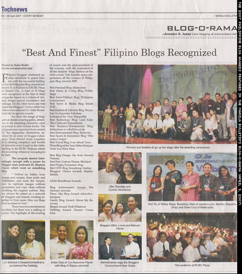 The 2007 Philippine Blog Awards featured in the Manila Bulletin's Blog-O-Rama. (April 9, 2007)