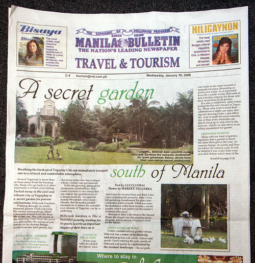 Hillcreek Gardens article in the Manila Bulletin.