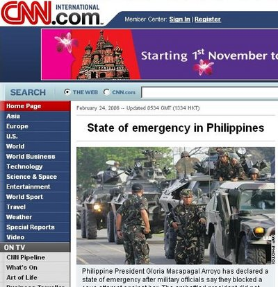 Frontpage of CNN International, 24 February 2006.