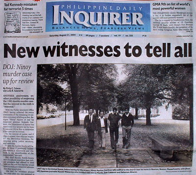 Philippine Daily Inquirer front page for August 21, 2004.