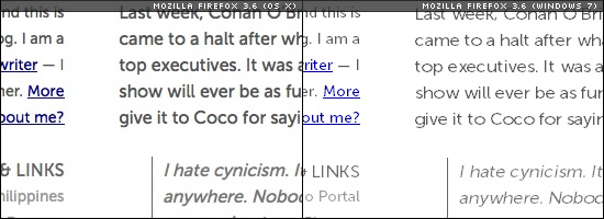 Image of text rendering sample of Mozilla Firefox on OS X and Windows 7.