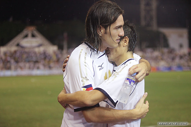 Angel Guirado and Misagh Bahadoran comfort each other in the setback that put the Philippines' World Cup dream on hold for the next four years.